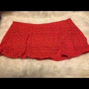 🆕 NWOT • Red Lace Swim Bottom Skirt • Size 2x